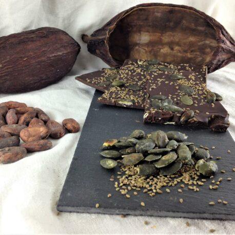 Le chocolat bio 75% cacao en vrac Anis et graines de courge