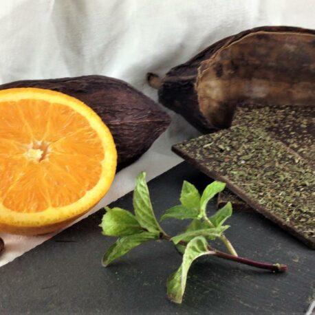 Le chocolat bio 75% cacao Menthe et huile essentiel d'orange