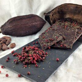 Le chocolat bio 75% cacao en vrac Baies rose et Thym