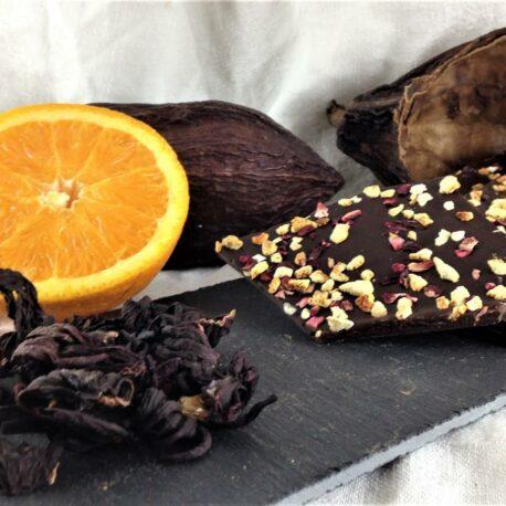 Le chocolat bio 75% cacao zestes d'orange, fleurs d'hibiscus