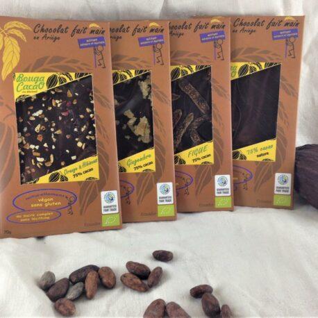 Les 4 tablettes chocolat bio 75% Nature et fruités