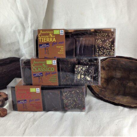 Lot de 3 boites de dégustation de Chocolat 75% cacao