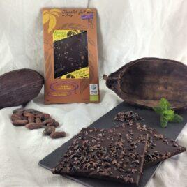 Tablette bio équitable 75% - éclats de cacao et menthe
