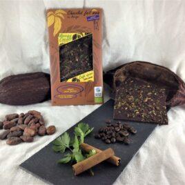 Tablette de chocolat bio 75% café, cannelle et feuilles de coriandre