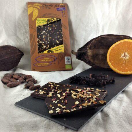 Tablette chocolat bio 75% orange hibiscus