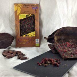 La tablette de chocolat bio 75% Thym et baies roses