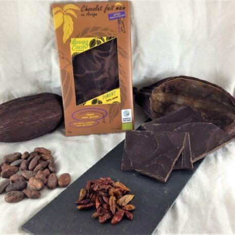 Tablette chocolat bio 75% cacao Piment et citronnelle