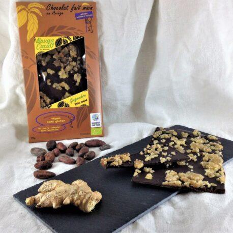 Chocolat 75% cacao au gingembre